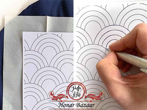 طریقه انتقال الگوی ساشیکودوزی به پارچه